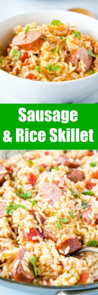 Sausage and Rice Skillet - smoked sausage and rice come together in one pan for a delicious and easy dinner. Ready in just minutes, so perfect for busy weeknight dinners.