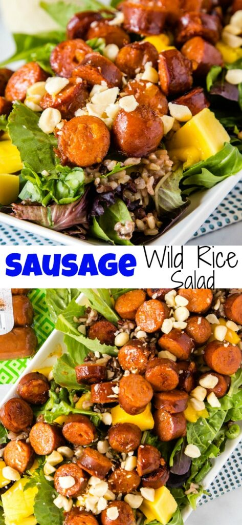 A close up of salad with sausage