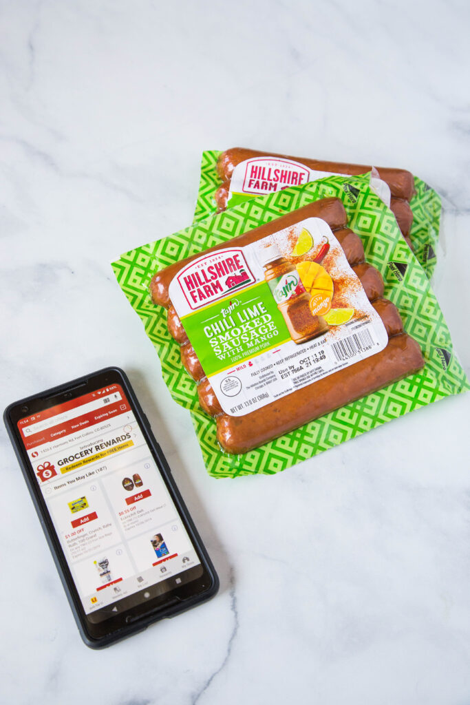 safeway grocery app with a package of sausage