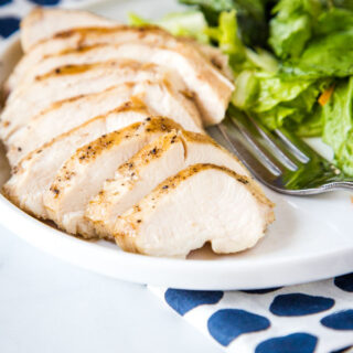 A plate of sliced chicken