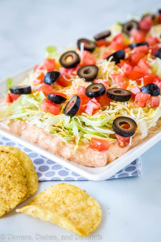 Layered Taco Dip is great for game day or a quick and easy appetizer
