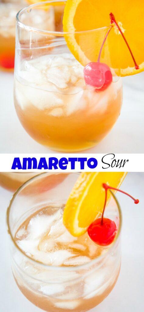 A close up of a glass of orange juice, with Amaretto Sour and Mai Tai