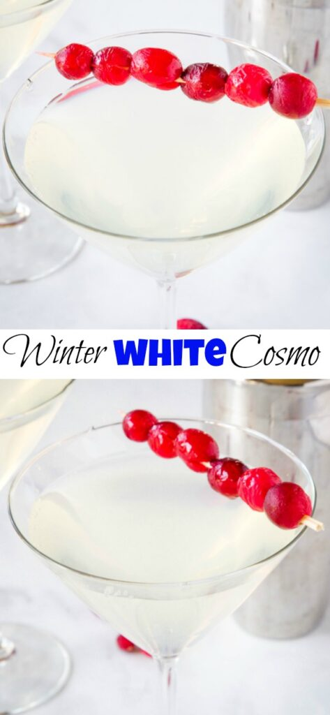 glass of white cosmo drink