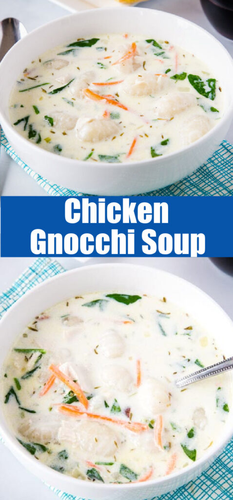 chicken gnocchi soup in a bowl close up