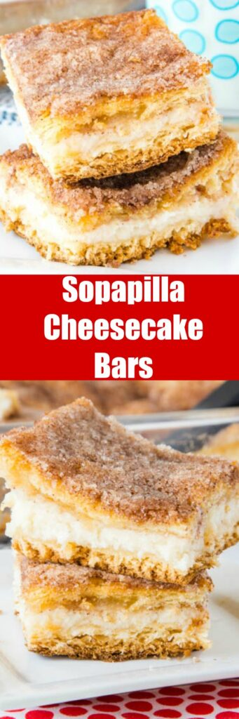 Sopapilla Cheesecake Bars - flaky pastry around a thick and creamy layer of cheesecake.  Then topped with butter and cinnamon sugar. A quick and easy version of sopapillas you can make in no time!