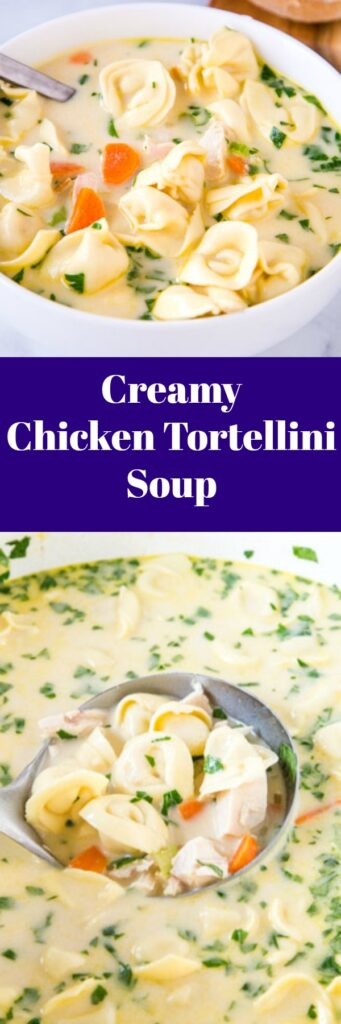 Creamy Chicken Tortellini Soup - A quick and easy soup that is perfect for a cold night.  Warm up with this cozy soup filled with vegetables, chicken and tortellini all in a delicious creamy broth.