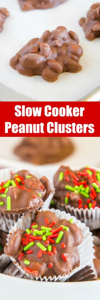 Slow Cooker Peanut Clusters - these easy crock pot chocolate covered peanuts are the perfect holiday treat. So easy to make and always delicious.