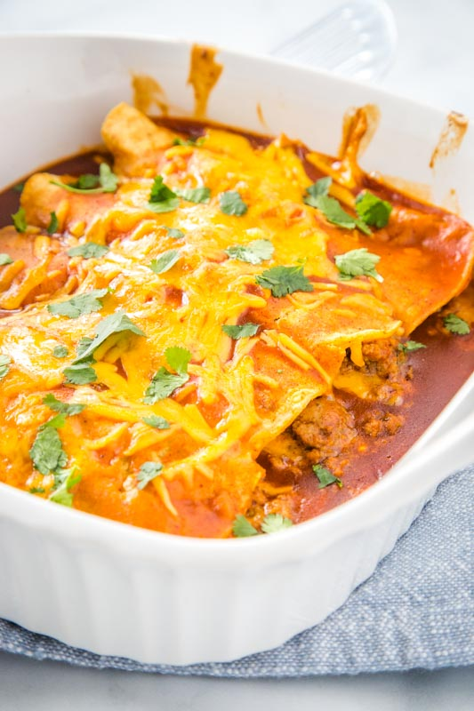 Ground beef and cheese enchiladas are a family favorite and super easy to make.
