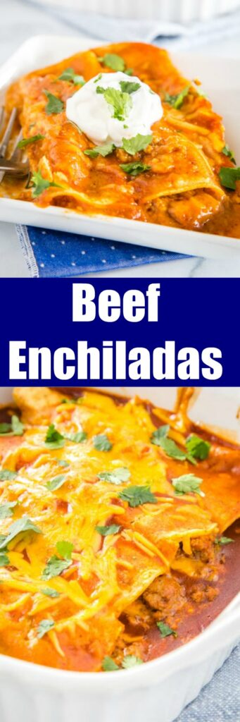 Easy Ground Beef Enchiladas - easy enchiladas filled with seasoned ground beef, onions, and lots of cheese! Absolutely delicious with just a few simple ingredients. Get a restaurant quality dinner on the table for dinner tonight!