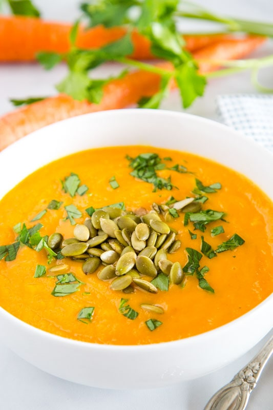 This carrot ginger soup recipe is ready in minutes, super healthy and a great weeknight dinner.