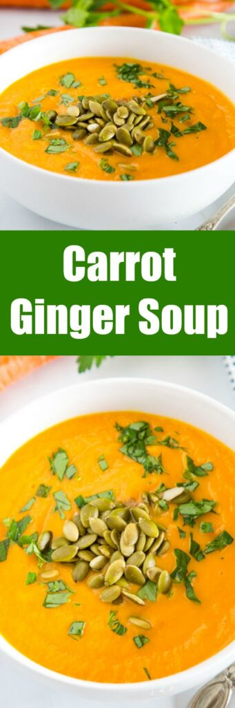 Carrot Ginger Soup - Smooth and creamy carrot soup with ginger, turmeric, garlic, and chicken broth. Healthy, comforting, and and the perfect way to brighten up a cold day!
