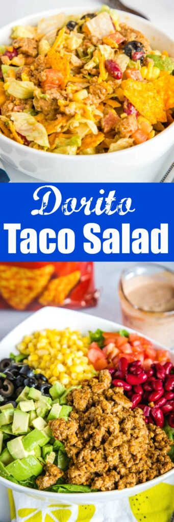 Dorito Taco Salad - a fresh a delicious salad loaded with seasoned ground beef, beans, cheese, tomatoes, avocado, plenty of crushed Dorito tortilla chips and tossed in a creamy homemade dressing.