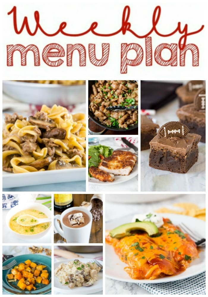 Weekly Meal Plan Week 237- Make the week easy with this delicious meal plan. 6 dinner recipes, 1 side dish, 1 dessert, and 1 fun cocktail make for a tasty week!
