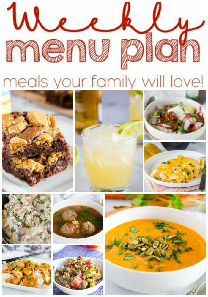 Weekly Meal Plan Week 240- Make the week easy with this delicious meal plan. 6 dinner recipes, 1 side dish, 1 dessert, and 1 fun cocktail make for a tasty week!