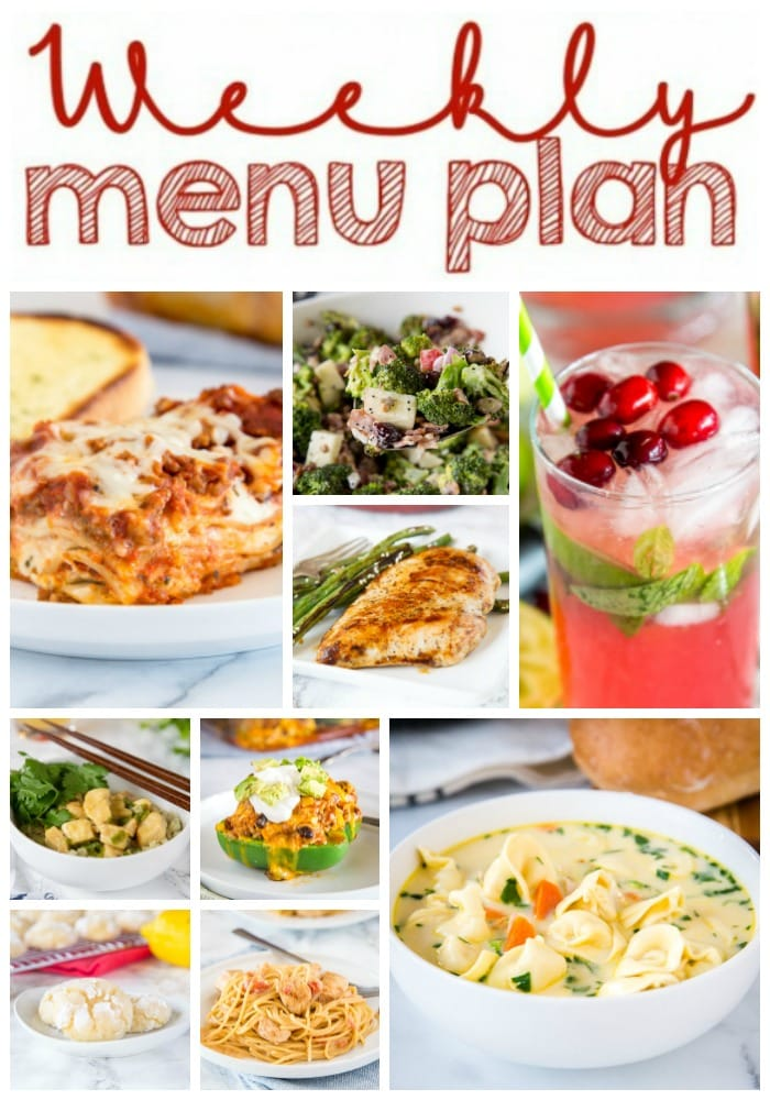 Weekly Meal Plan Week 236- Make the week easy with this delicious meal plan. 6 dinner recipes, 1 side dish, 1 dessert, and 1 fun cocktail make for a tasty week!