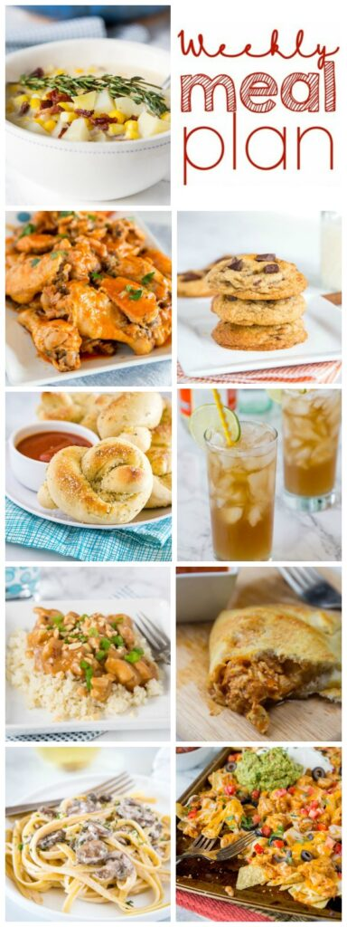 Weekly Meal Plan Week 238- Make the week easy with this delicious meal plan. 6 dinner recipes, 1 side dish, 1 dessert, and 1 fun cocktail make for a tasty week!