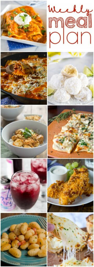 Weekly Meal Plan Week 242- Make the week easy with this delicious meal plan. 6 dinner recipes, 1 side dish, 1 dessert, and 1 fun cocktail make for a tasty week!