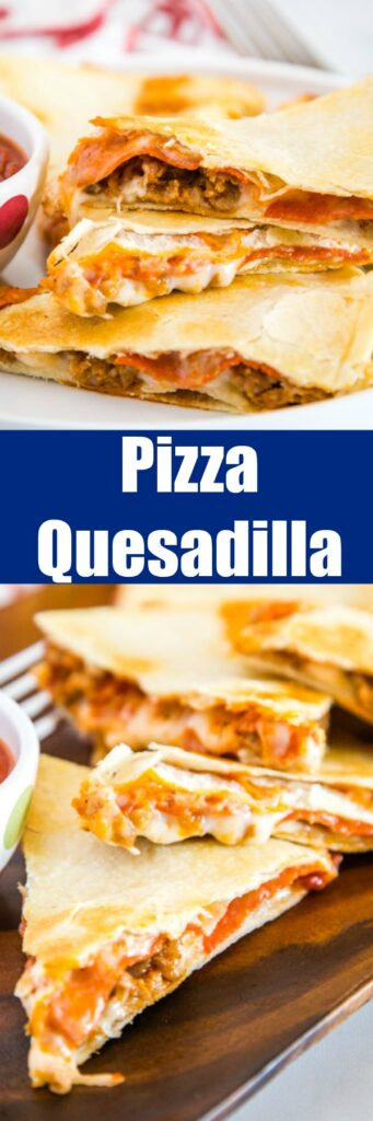 Turn Quesadillas into pizza! Just fill with your favorite toppings and serve with pizza sauce for dipping.