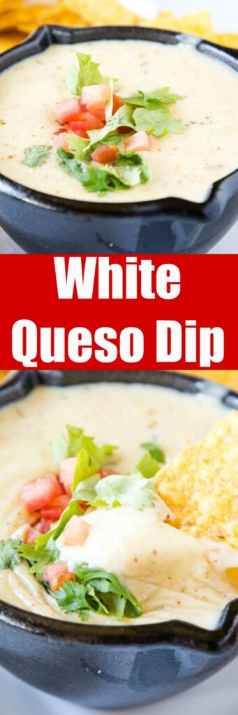 Mexican White Queso Dip - Similar to the white cheese sauce served at Mexican restaurants. It is creamy, has just a little spice to it and is the perfect addition to any party!