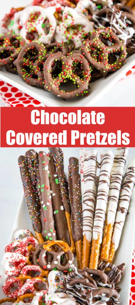 pretzels coated in chocolate on a platter