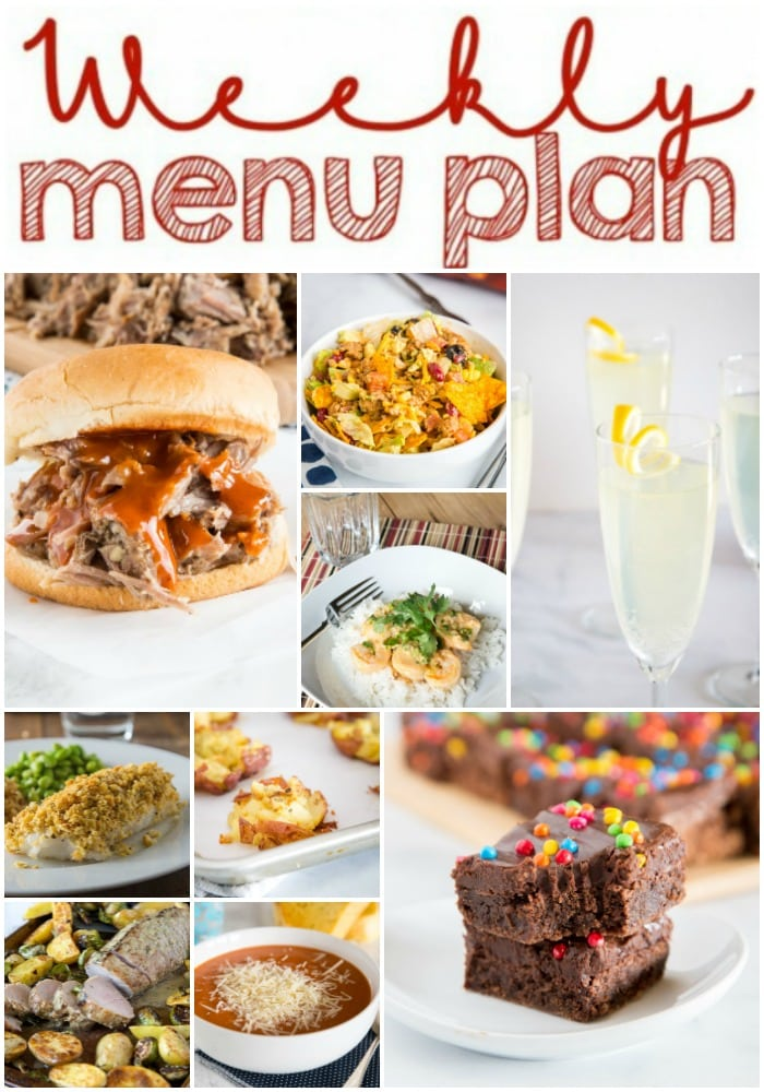 Weekly Meal Plan Week 243- Make the week easy with this delicious meal plan. 6 dinner recipes, 1 side dish, 1 dessert, and 1 fun cocktail make for a tasty week!