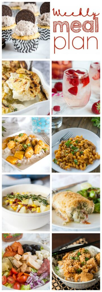 Weekly Meal Plan Week 246- Make the week easy with this delicious meal plan. 6 dinner recipes, 1 side dish, 1 dessert, and 1 fun cocktail make for a tasty week!