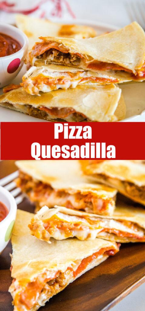 pizza quesadilla slice on a white plate