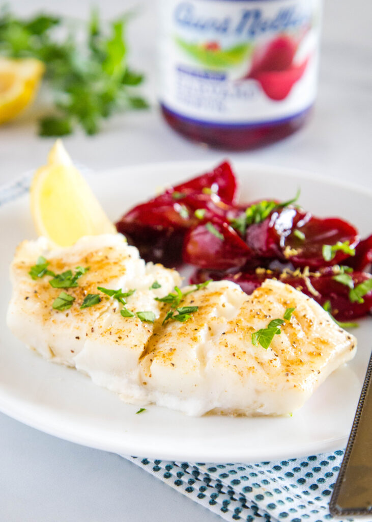Oven baked cod with old bay and melted butter