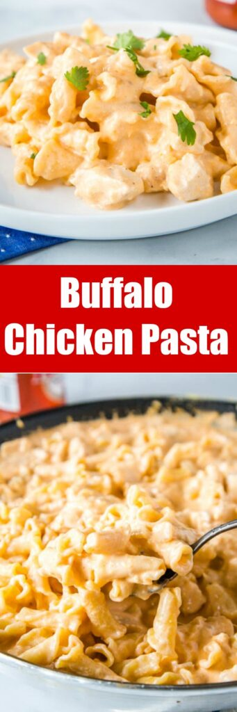 Buffalo Chicken Pasta - a creamy stove top chicken pasta dinner that has all the flavor of Buffalo Chicken Wings!  It is loaded with ranch dressing, two kinds of cheese, and plenty of buffalo sauce!