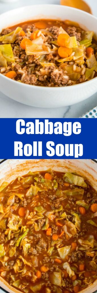 Cabbage Roll Soup - a simple soup that has all the taste of traditional stuffed cabbage rolls that is ready in minutes. It is hearty, filling, healthy and delicious!