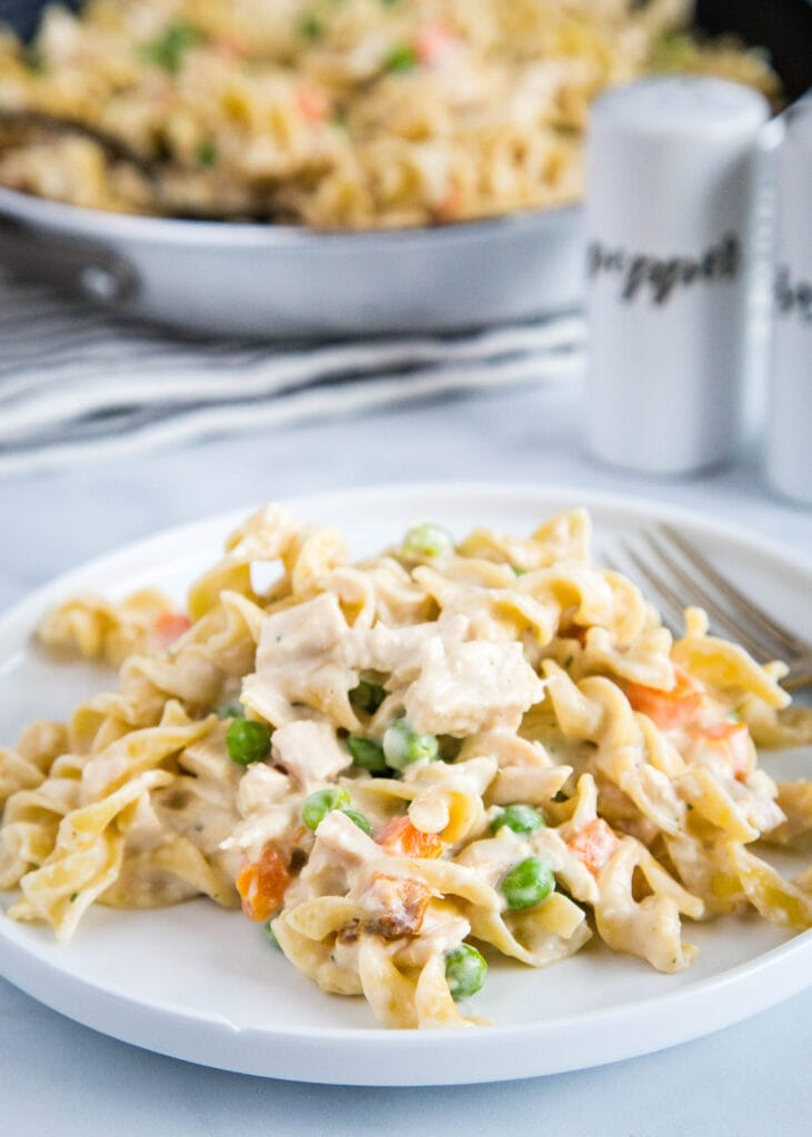 Turn classic chicken pot pie into an easy noodle dish!