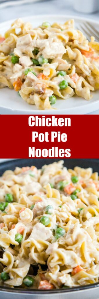 Chicken Pot Pie Noodles - a fun twist on classic chicken pot pie using noodles! Comes together in minutes so it is perfect for quick weeknight meals.