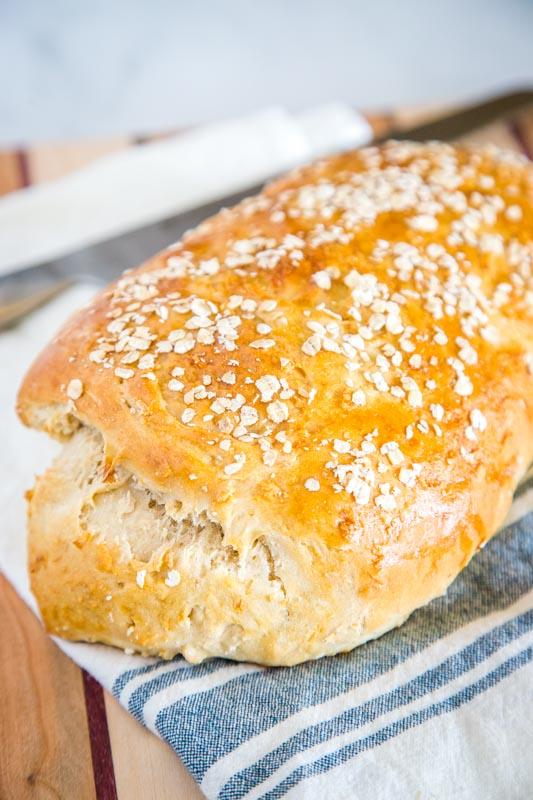A close up of a bread