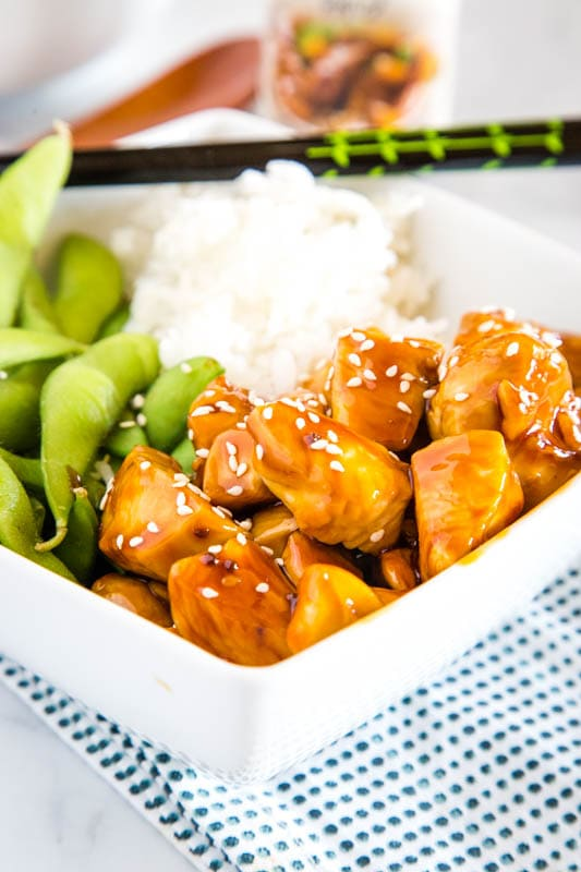 Use honey teriyaki sauce to make these easy chicken bowls