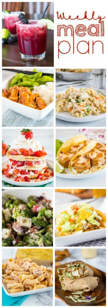 Weekly Meal Plan Week 250- Make the week easy with this delicious meal plan. 6 dinner recipes, 1 side dish, 1 dessert, and 1 fun cocktail make for a tasty week!