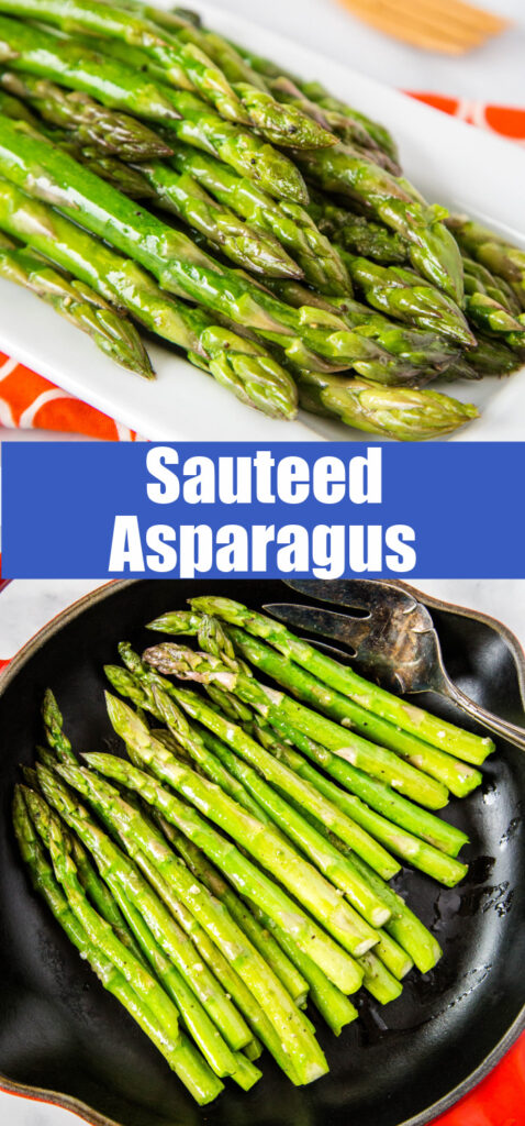 cooked asparagus on a pan close up