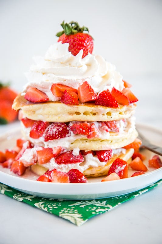 The ultimate dessert for breakfast! Strawberry Shortcake is turned into pancakes!