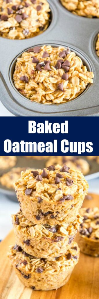 Baked Oatmeal Cups - a single serve way to make baked oatmeal ahead of time. Have these in the fridge or freezer for quick and easy breakfasts all week long. Lots of ways to mix up the flavors for the whole family!