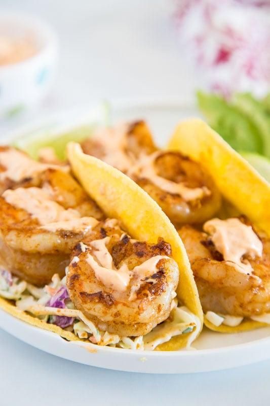 Easy shrimp tacos with a smokey chipotle sauce