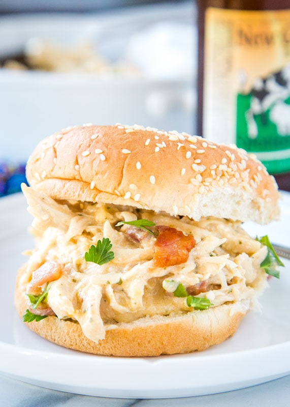 Creamy crack chicken on a bun made in the Instant Pot
