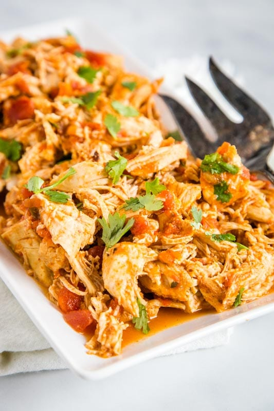 Pressure cooker salsa chicken for tacos, burritos, salads, quesadillas and more