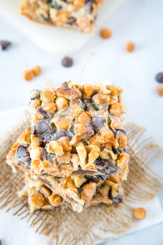 7 layer magic cookie bars with chocolate and butterscotch