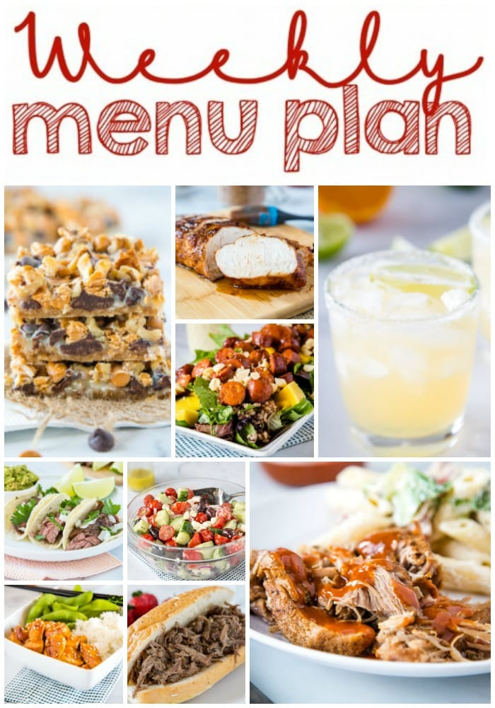 Weekly Meal Plan Week 255- Make the week easy with this delicious meal plan. 6 dinner recipes, 1 side dish, 1 dessert, and 1 fun cocktail make for a tasty week!