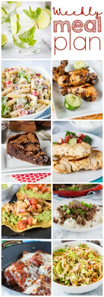 Weekly Meal Plan Week 256- Make the week easy with this delicious meal plan. 6 dinner recipes, 1 side dish, 1 dessert, and 1 fun cocktail make for a tasty week!