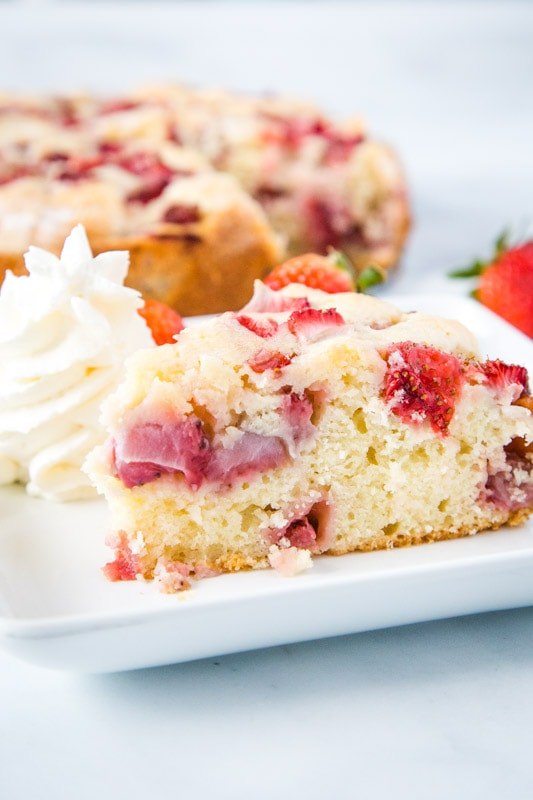 Strawberry French Cake served with whipped cream