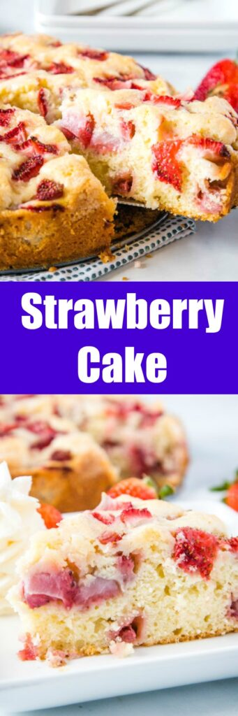 Easy Strawberry Cake - Use fresh strawberries to make this tender and delicious cake.  It has a tasty sugary crust on the outside and is moist and almost custardy center.  It is super easy to make and great for any occasion.