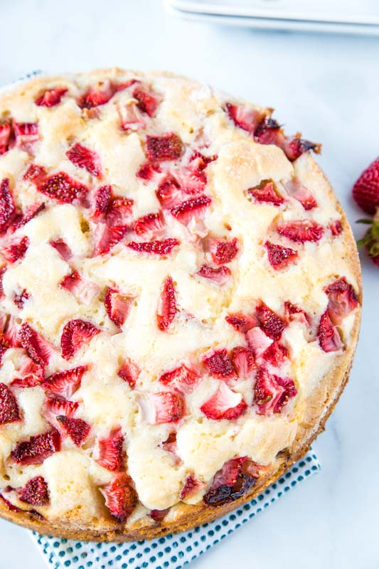 Easy Strawberry Cake with tons of fresh strawberries