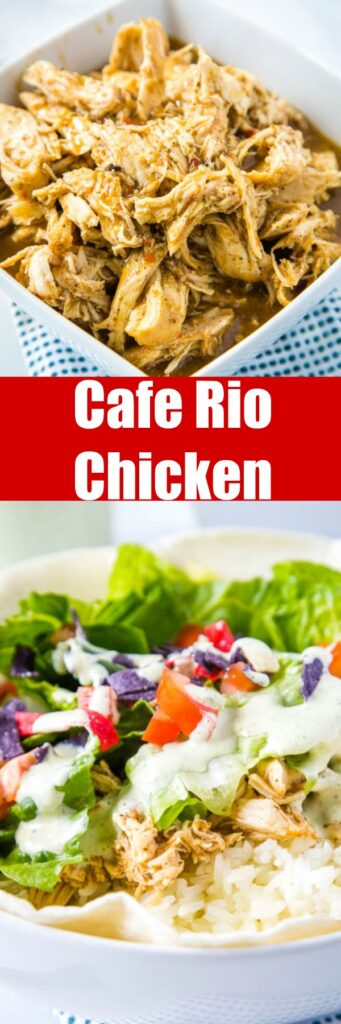 Cafe Rio Chicken - easy and delicious shredded chicken that tastes just like Cafe Rio.  Great for salads, burritos, tacos, quesadillas and more!