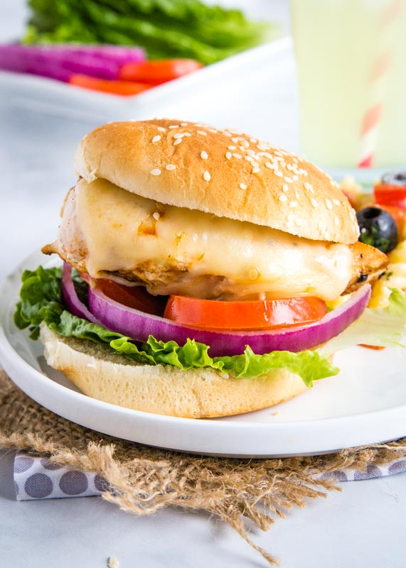 grilled chicken on a bun with cheese, lettuce, tomatoes and onions