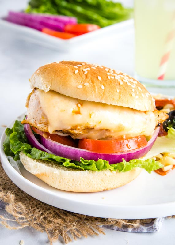 Grilled chicken sandwich with pepper jack cheese on a bun